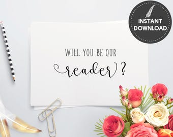 Instant Download - Will You Be Our Reader Invitation Invite Card Proposal Elegant Script Heart Wedding DIY Printable - Digital File #ES01