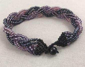 Purple, pink and black braided seed bead bracelet, beaded jewellery