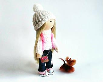 Fabric doll Decor doll Art doll Cloth doll Interior doll Handmade doll Rag doll Textile doll Autumn Yorkshire dog doll