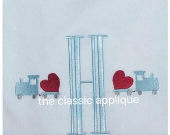 mini fill stitch Valentine's train with heart embroidery design file in 1.5 inch and 2 inch