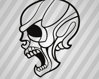 Skull Silhouette Pirate Skull - Svg Dxf Eps Silhouette Rld RDWorks Pdf Png AI Files Digital Cut Vector File Svg File Cricut Laser Cut