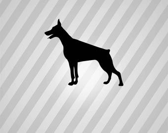doberman silhouette svg dxf eps silhouette rld rdworks pdf png ai files digital cut vector