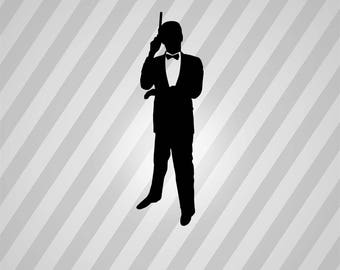 james bond silhouette svg dxf eps silhouette rld rdworks pdf png ai files digital cut