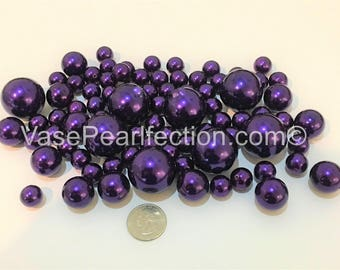 All Deep Plum Pearls Vase Fillers in Jumbo and Assorted Sizes for Floating Pearl Centerpieces