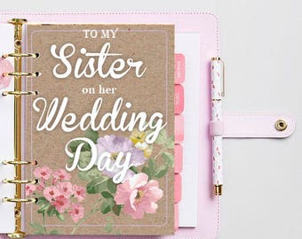 To My Sister on her Wedding Day/Wedding day gift/Dividers A5/Filofax dashboard/Kikki K/Planner Dividers/Agenda Divider/Vintage Dividers/gift