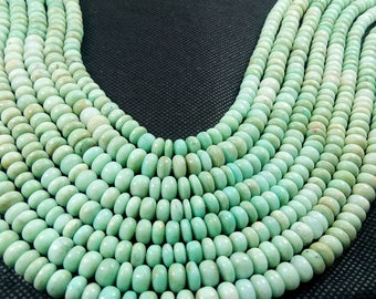 Natural Plain Roundelle Amazonite Semi Precious Gemstone Beads 14'' 7-8mm appx. 134.93 Ct.