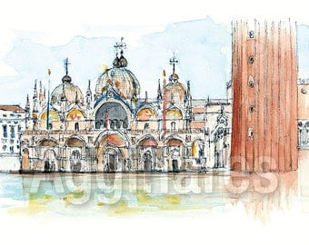 Venice Italy / art print from an original watercolor painting