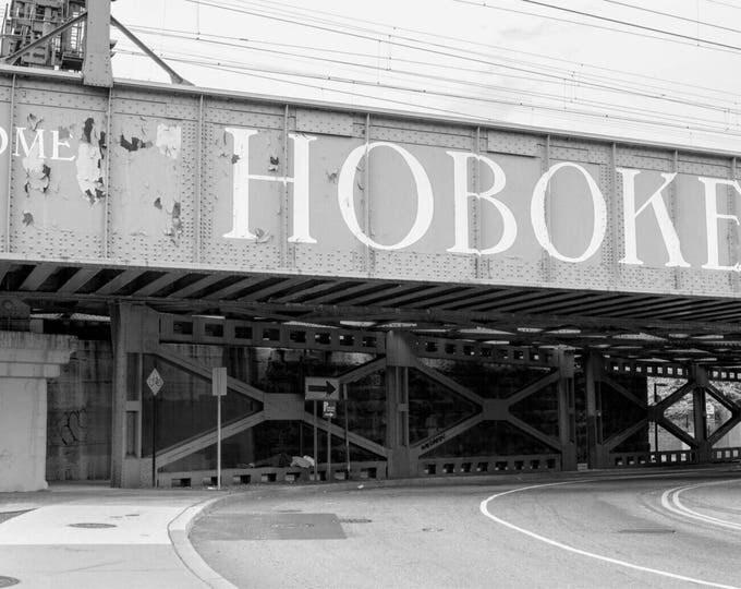 Welcome to Hoboken framed 14x18 inch , Hoboken Art print 11x14 inch, black and white framed photo print
