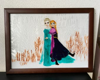 Disney FROZEN princess Glass Frame Hand colored etching