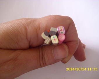 set of 6 + 1 free cane polymer clay for nails 5 x 4-5 mm