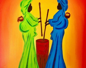 African colorful unique figurative painting