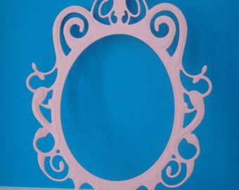 Cut pink mirror frame for scrapbooking and card