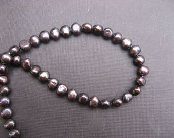 Cultured pearls Baroque, dark gray, 08-09mm - 1 set of 5