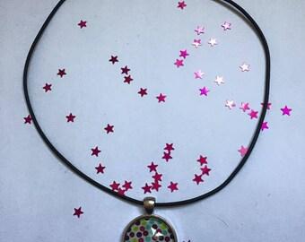 """Rubber pendant 25 mm """"Confetti"""" Choker necklace"""