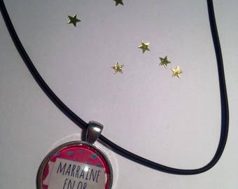 Rubber pendant 25 mm GODMOTHER gold Choker necklace
