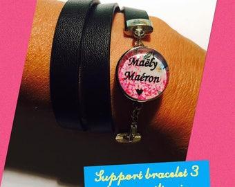 """Bracelet faux leather 3 laps + black cabochon snap """"Custom"""" button"""