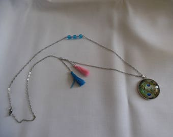 Pink and blue chain, Peacock cabochon pendant necklace with tassels, glass beads.