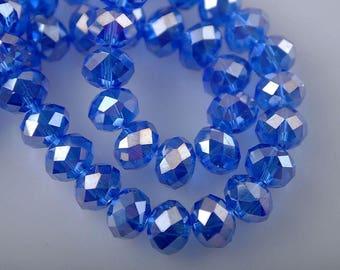set of 30 beads Crystal 8 x 6 mm royal blue