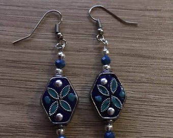 Pearl Earrings from India partitioned blue