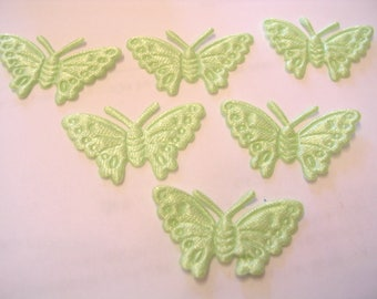 BATCH 6 fabric APPLIQUES: 30mm Green Butterfly