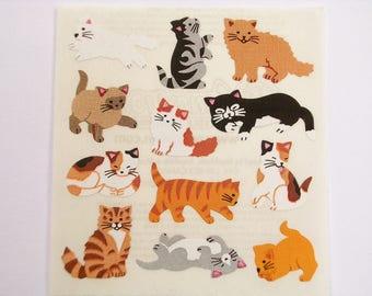 36 STICKERS on sheet 5 * 16CM: 15mm cat pattern