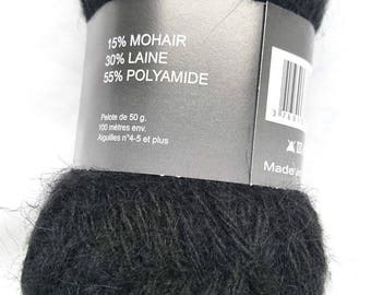 10 balls of wool, mohair and /laine / black / made in FRANCE