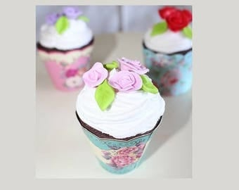 Cup cake, chocolate whipped cream, floral vintage mold