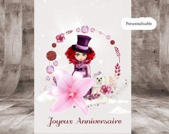 Personalized birthday card, size 10 x 14 cm