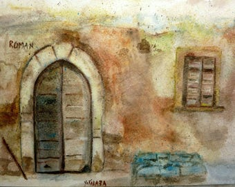 watercolor a colorful old Roman House