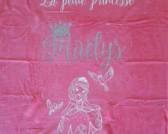 Princess theme personalized baby blanket