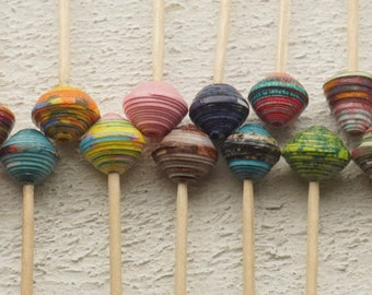 """Reduced price for 1 set of 20 paper beads, handmade """"Set 32"""""""
