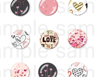 24 Images LOVE digital round cabochon 25mm