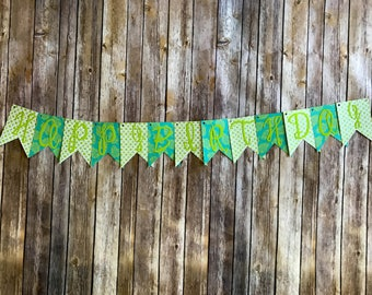 Happy Birthday Banner- Green and Teal Tropical Leaves