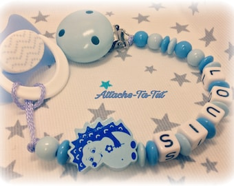 Pacifier, pacifier, personalized, hedgehog, light blue and sky blue.