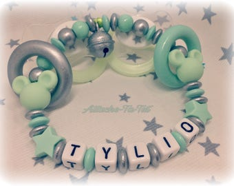 Personalized rattle, 2 Mickey 2 stars, mint and silver.