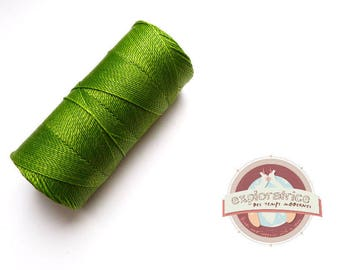 8 metres of lime green macrame 0.7 mm waxed polyester cord