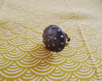 Ethnic round ring bronze brass vintage retro rock pique
