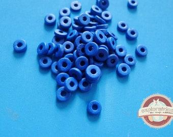 100 ethnic washers 2x6mm Blue ceramic beads