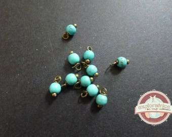 10 pearls round 4x8mm charms turquoise howlite stones