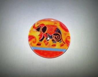 Elephant cabochon, glass round 20mm, orange
