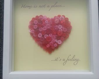 Home is not a place its a feeling, box frame, button art, Home