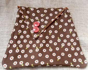 Brown floral clutch