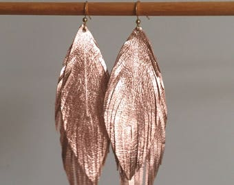 DOUBLE genuine ITALIAN LEATHER rose gold feather earrings soft leather feather earrings leather earrings lightweight dangle earrings