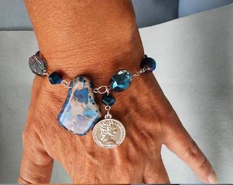 Blue crystal bracelets/beaded bracelets/bracelets/charm bracelets