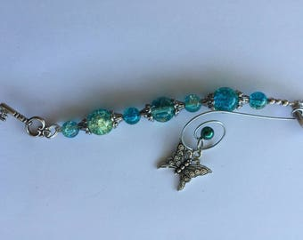 Butterfly rearview mirror charm, mirror charm, purse charm, crystal charms