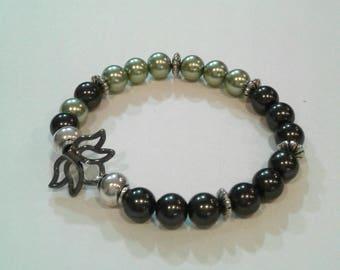 lotus beaded bracelet,stretch bracelet,green beaded bracelet
