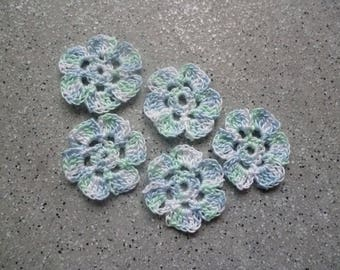 5 blue flowers made in crochet cotton