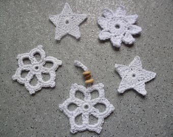 5 stars and snowflakes in white cotton crocheted