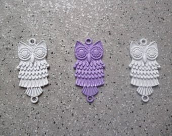 3 owls charms, connectors, metal color