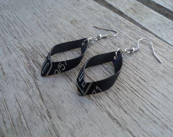 Recycled inner tube drop earrings